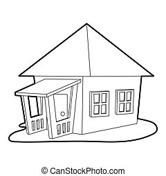 Bungalow icon, outline style - Bungalow icon. Outline...