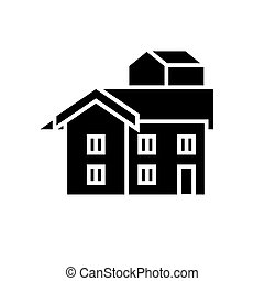 bungalow icon, vector illustration, black sign on isolated background