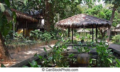 bungalow in tropical forest