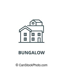 Bungalow line icon, vector. Bungalow outline sign, concept symbol, flat illustration