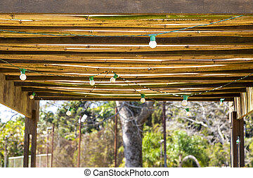 Bungalow made of bamboo with light for illumination
