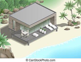 bungalow, moderne, côte