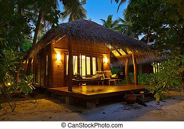 bungalow, ocaso, maldivas, -, playa