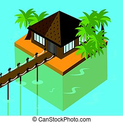 Bungalow on the ocean with palm trees. Tropical, vacation isometric vector illustration for touristic business. Summer holidays banner