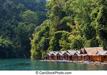 Bungalow on tropical lake