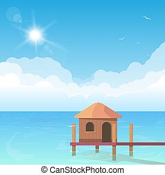 Bungalow on water
