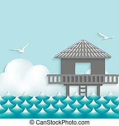 bungalow over waves on sky background with seagulls. vector...