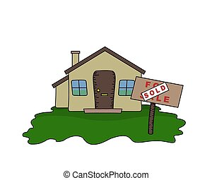 Bungalow sold - Illustrated Bungalow with Sold sign