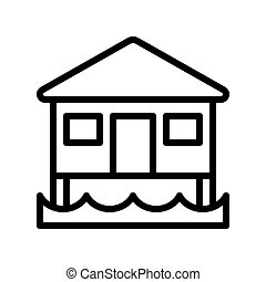 Bungalow vector, tropical related line style icon - Bungalow...