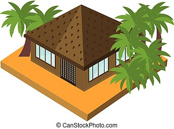 Bungalow with palm trees. Isometric vector icon for touristic business. Tropic house isolated on white
