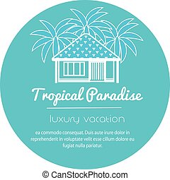 Bungalow with palm trees. Tropical apartment. icon for touristic business.