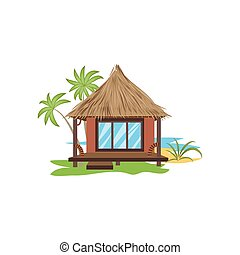 Bungalow with thatched roof surrounded by palms vector illustration