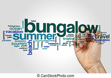 Bungalow word cloud concept on grey background