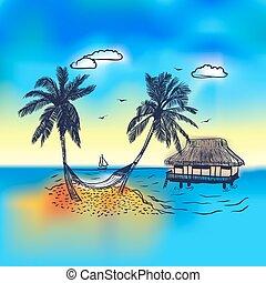 bungalow, wyspa raju, dłoń drzewo