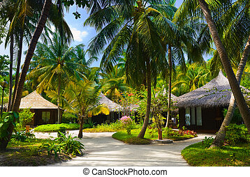 Bungalows and pathway, flowers and trees - vacation...