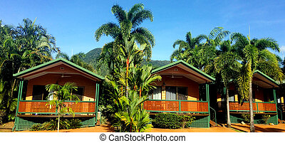 Bungalows in a resort in Cairns in Queensland Australia -...