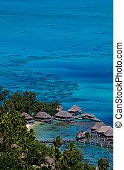 bungalows, recurso, bora, isla, tahití