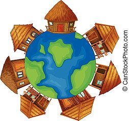 bungalows - Illustration of bugalows on earth