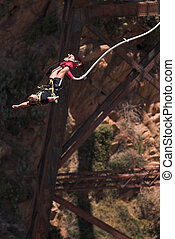 Bungee Jumper at Gouritz River Bridge, South Africa - Movement on Jumper