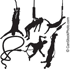 Bungee jumper vector silhouettes set. Layered. Fully...