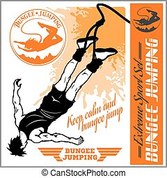 Bungee jumping. Vector set - badges and monochrome ...