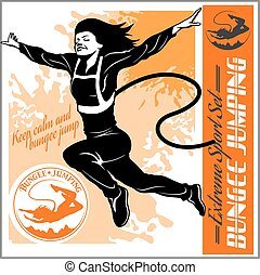 Bungee jumping. Vector set - badges and monochrome illustration.