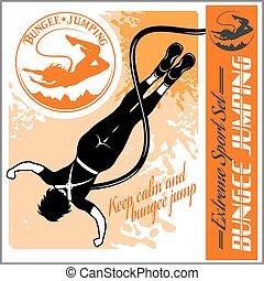 bungee, jumping., vektor, satz, -, abzeichen, und, monochrom, illustration.