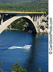 bungee que salta, de, puente