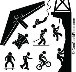bungee, sportende, hangen zweefvliegtuig, extreem