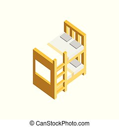 Bunk Bed 3D Isometric Furniture Illustration