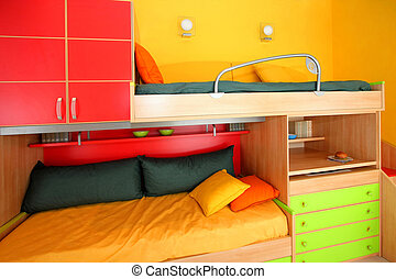 Interior of colorful kids room with bunk bed