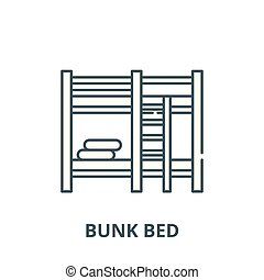 Bunk bed vector line icon, linear concept, outline sign, symbol