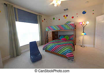 A Bedroom with Bunk Beds, Interior Shot of a Home