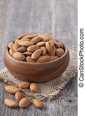 bunke, med, mandeln, nötter