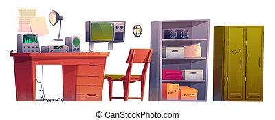 Underground bunker control room equipment set, cartoon bomb shelter, headquarters base for survival. Vector hiding place to protection from danger, command post with control panel and radio station