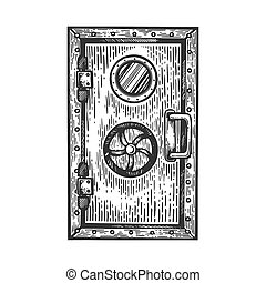 Bunker door engraving vector illustration. Scratch board style imitation. Black and white hand drawn image.