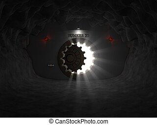 bunker entrance in cave. (opening door version)