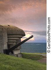 Bunker on the coastline, Gold Beach - Old german bunker in...