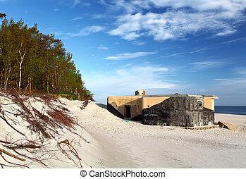 bunker, på, strand