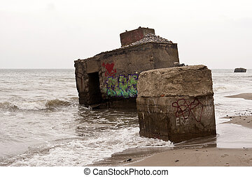 Bunker remains on the Baltic Sea on Darss in Germany