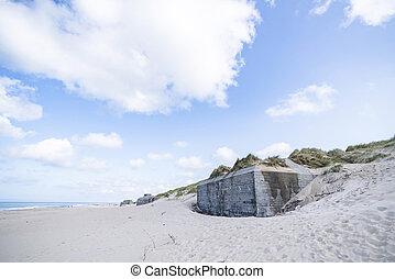Bunker ruins on the coast of Denmark