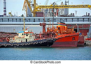 bunker, skib, og, bugserbåd, under, havn, kran