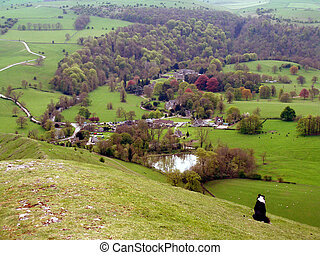 bunker, völgy, derbyshire., ilam, galamb, hegy, falu