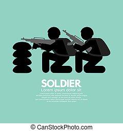 bunker, vettore, pistole, illustrazione, soldati