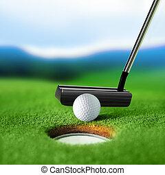 bunker, witte bal, golf