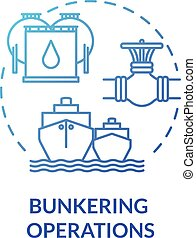 Bunkering operation blue concept icon. Supplying ship with fuel. Providing petroleum to boat. Vessel maintenance idea thin line illustration. Vector isolated outline RGB color drawing