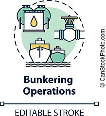 Bunkering operation concept icon. Supplying ship with fuel. Providing petroleum to boat. Vessel maintenance idea thin line illustration. Vector isolated outline RGB color drawing. Editable stroke