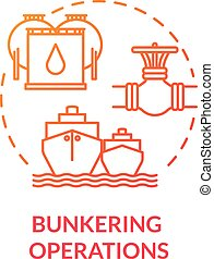 Bunkering operation red concept icon. Supplying ship with fuel. Providing petroleum to boat. Vessel maintenance idea thin line illustration. Vector isolated outline RGB color drawing