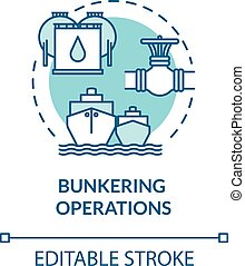 Bunkering operation turquoise concept icon. Supplying ship with fuel. Petroleum for boat. Vessel maintenance idea thin line illustration. Vector isolated outline RGB color drawing. Editable stroke