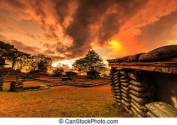 bunkers, pôr do sol, trenches, tailandia